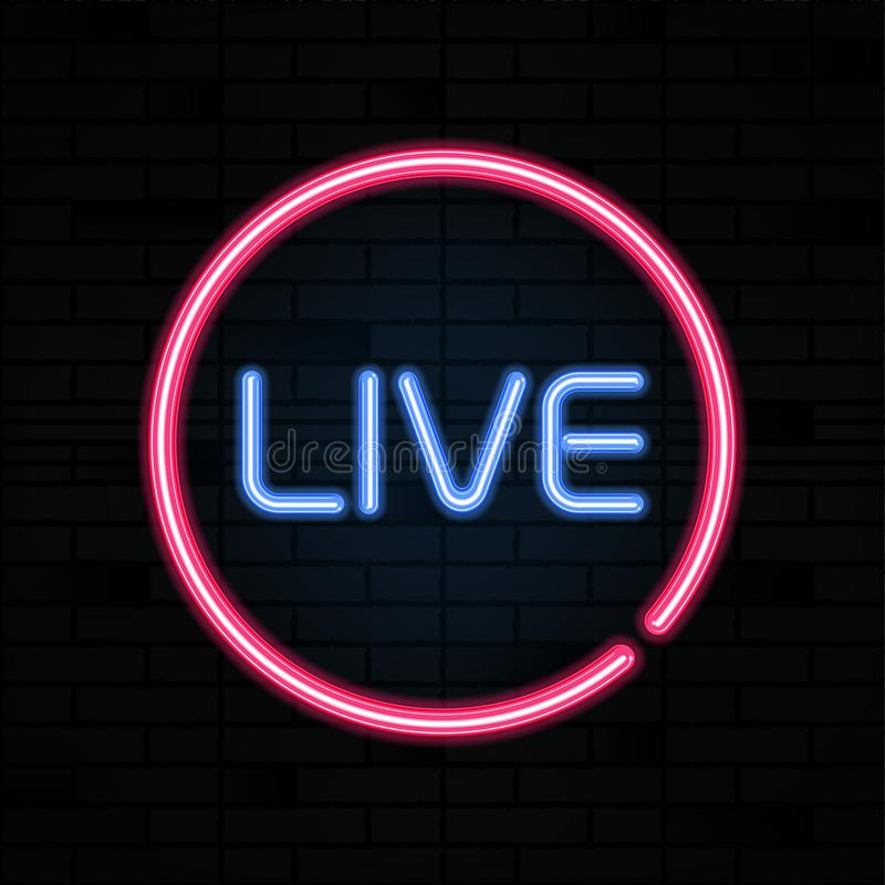 Live neon sign vector. Stream design template, light banner signboard, nightly bright advertising. Vector illustration royalty free illustration