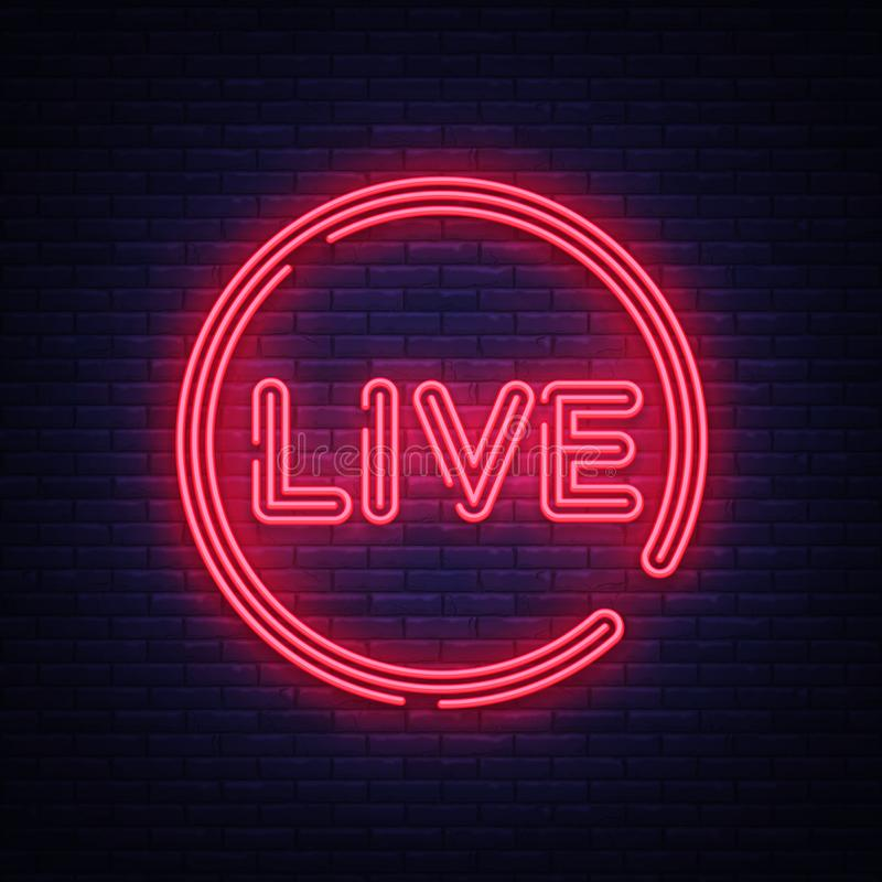 Live neon sign vector. Live Stream design template neon sign, light banner, neon signboard, nightly bright advertising vector illustration