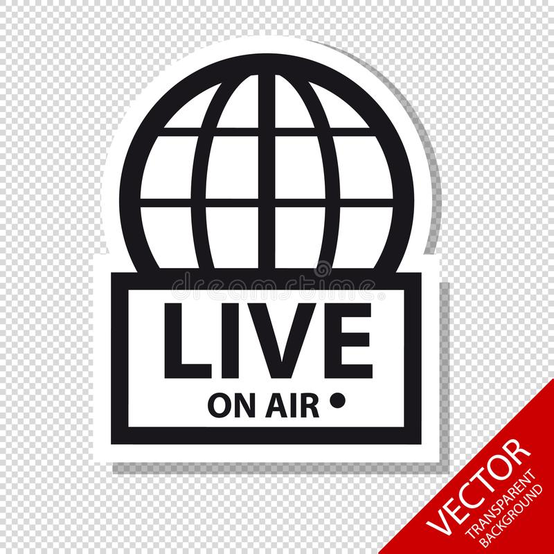 Live News On Air - Vektor-Ikonen - lokalisiert auf transparentem Hintergrund stock abbildung