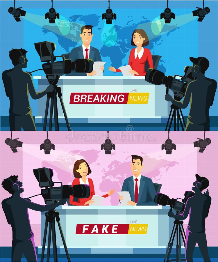 Live news on TV cartoon vector illustrations set. Breaking news flat drawing. Fake news program. Reporters reading from paper. Broadcasting. Cameramen holding royalty free illustration