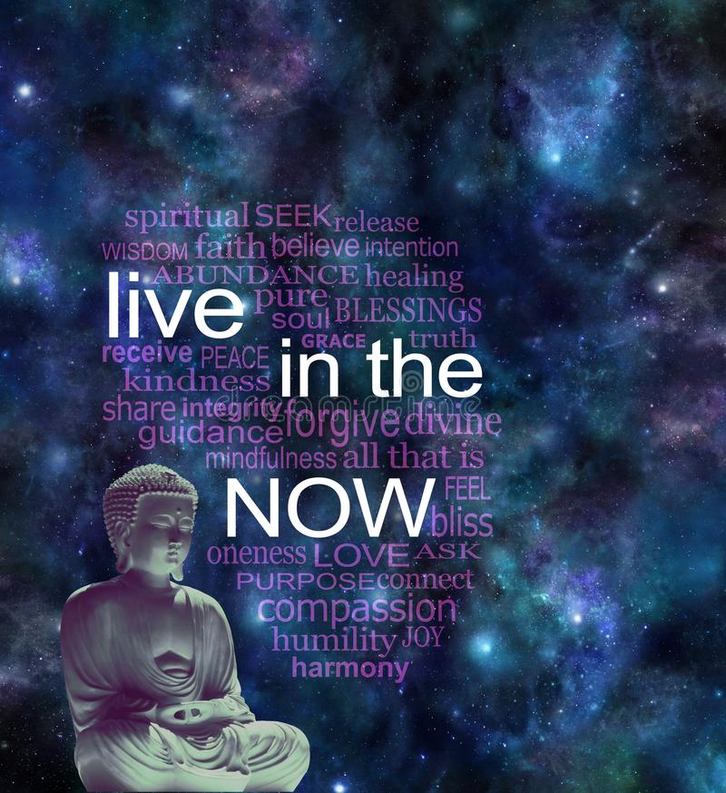Live in the NOW word cloud. Seated meditating Buddha figure with warm glow against a cosmic night sky background with a LIVE IN THE NOW word cloud n royalty free stock photos