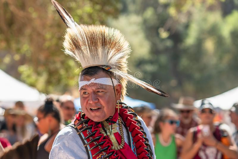 Pow Wow. Portrait of Native American in Full Regalia stock photo
