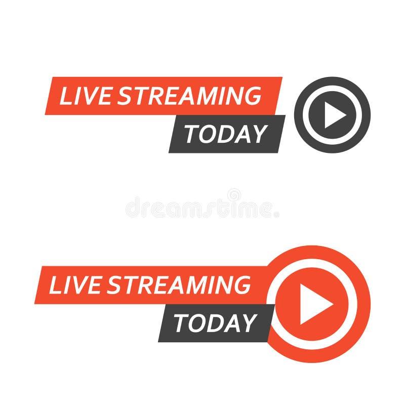 Live que fluye el logotipo - difusión en línea del botón, icono vivo de la corriente libre illustration