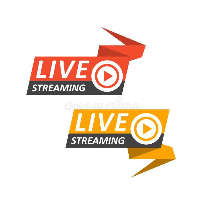 Live que fluye el logotipo en la bandera - botón para la difusión en línea, icono vivo de la corriente libre illustration