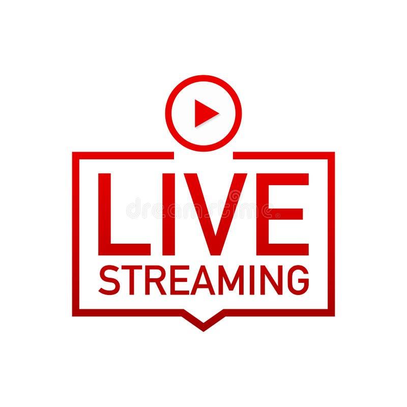 Live que fluye el logotipo plano - elemento rojo del diseño del vector con el botón de reproducción ilustración del vector