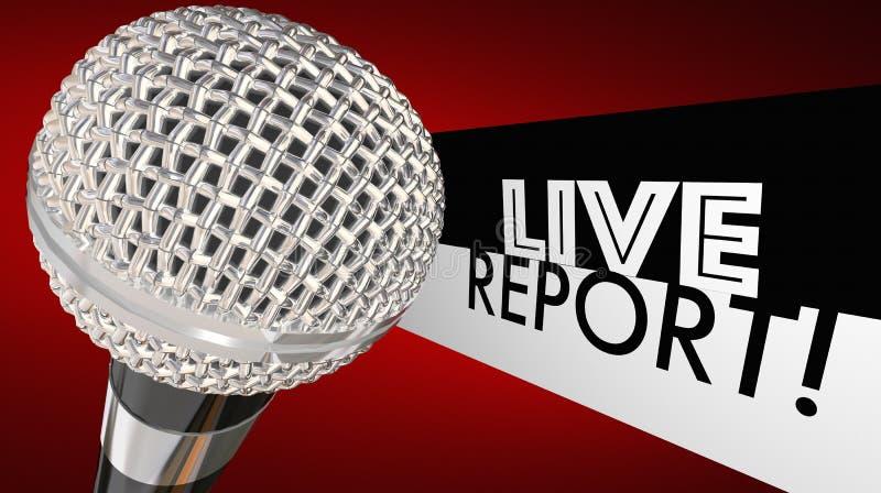 Live Report Microphone Breaking News-Update Waakzame 3d Illustratio royalty-vrije illustratie