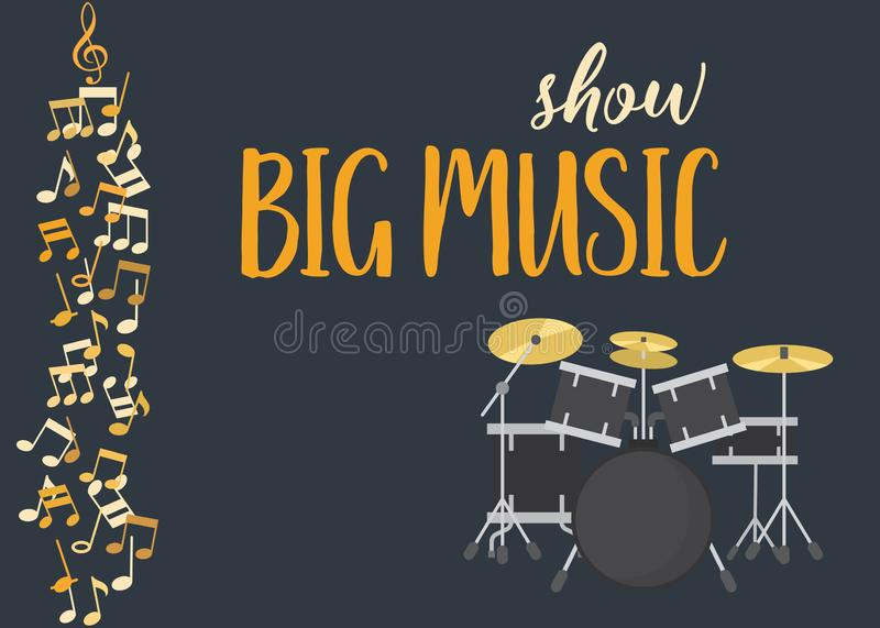 Live rock music concert vector illustration. Poster or banner with calligraphic inscription. Rock music with drum vector illustration