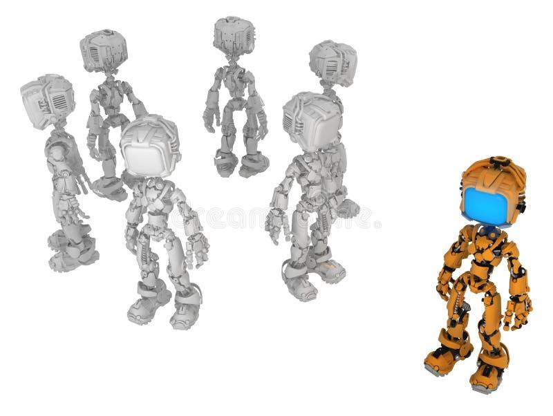 Live Screen Robot apelsin en royaltyfri illustrationer
