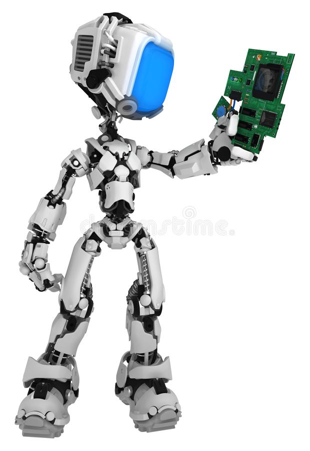 Live Screen Robot, Circuit Component. Screen robot figure character pose holding electronic circuit component, 3d illustration, vertical, isolated royalty free illustration