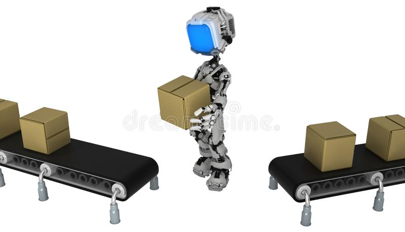 Live Screen Robot, Conveyor Box Transfer. Screen robot figure character pose conveyor box transfer, 3d illustration, horizontal, isolated vector illustration