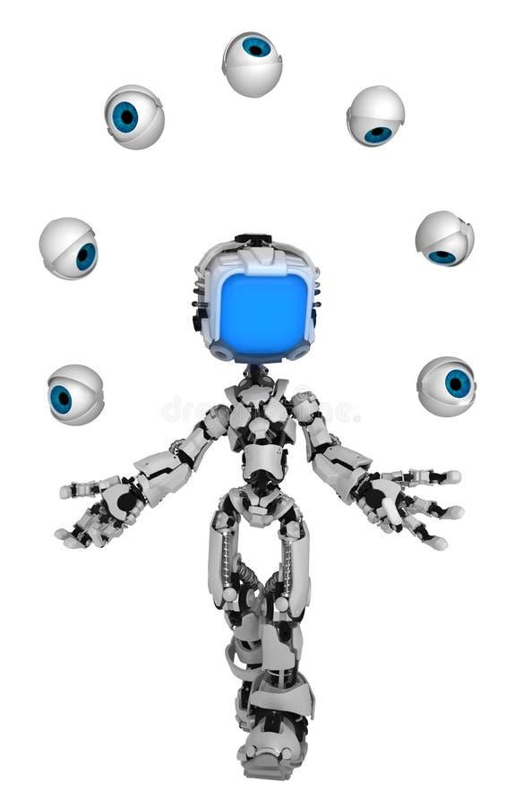 Live Screen Robot jonglerar ögon stock illustrationer