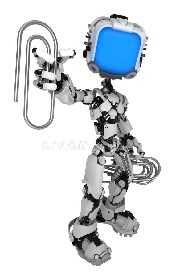 Live Screen Robot Paperclips stock illustrationer