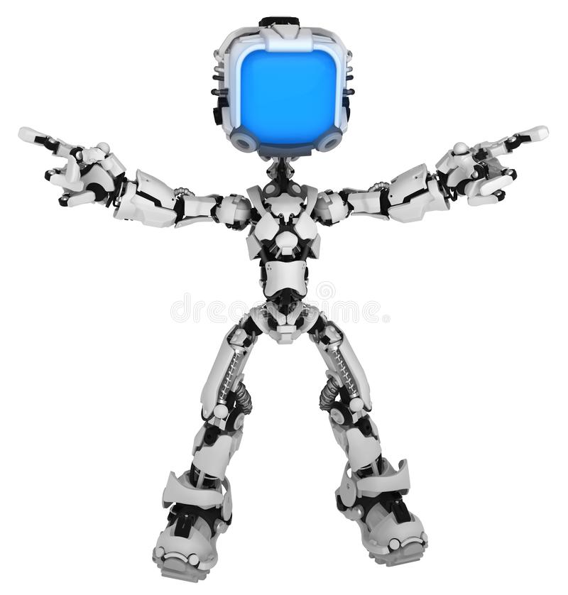 Free Live Screen Robot, Sides Pointing Royalty Free Stock Photography - 138914307