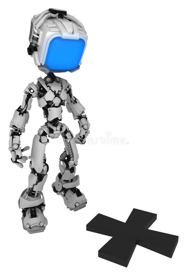 Live Screen Robot, Spot Mark. Screen robot figure character pose spot mark, 3d illustration, vertical, isolated royalty free illustration