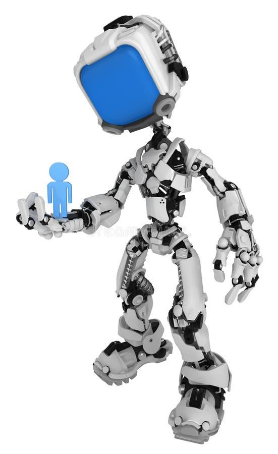 Live Screen Robot, toma de la persona ilustración del vector