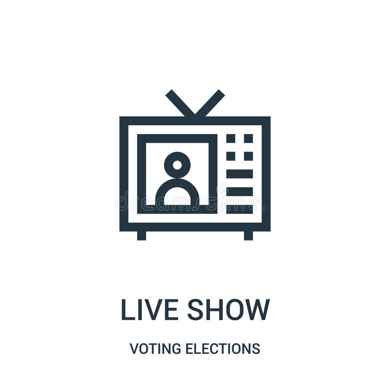 live show icon vector from voting elections collection. Thin line live show outline icon vector illustration vector illustration