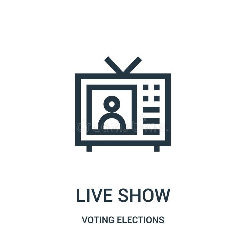 Live-Show-Ikonenvektor von Abstimmungswahlsammlung Dünne Linie Live-Show-Entwurfsikonen-Vektorillustration vektor abbildung