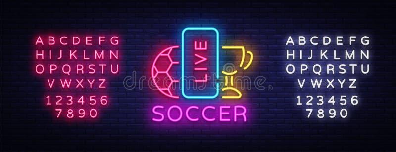 Live Soccer Neon Sign Vetora Néon de Live Football Logo, emblema do molde do projeto, símbolo em linha do futebol, bandeira clara ilustração stock