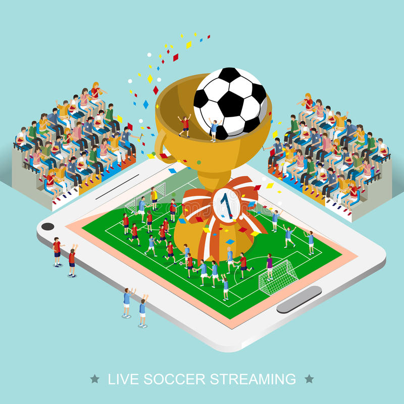 Live soccer streaming concept. In 3d isometric flat design stock illustration