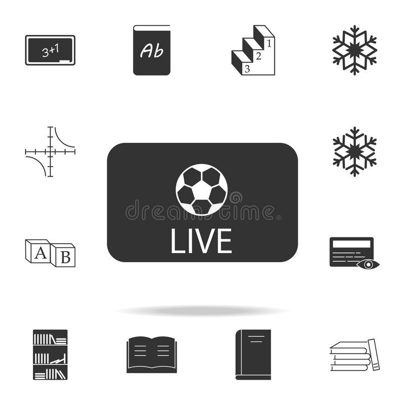 Live soccer tv icon. Detailed set of web icons. Premium quality graphic design. One of the collection icons for websites, web desi. Gn, mobile app on white stock illustration