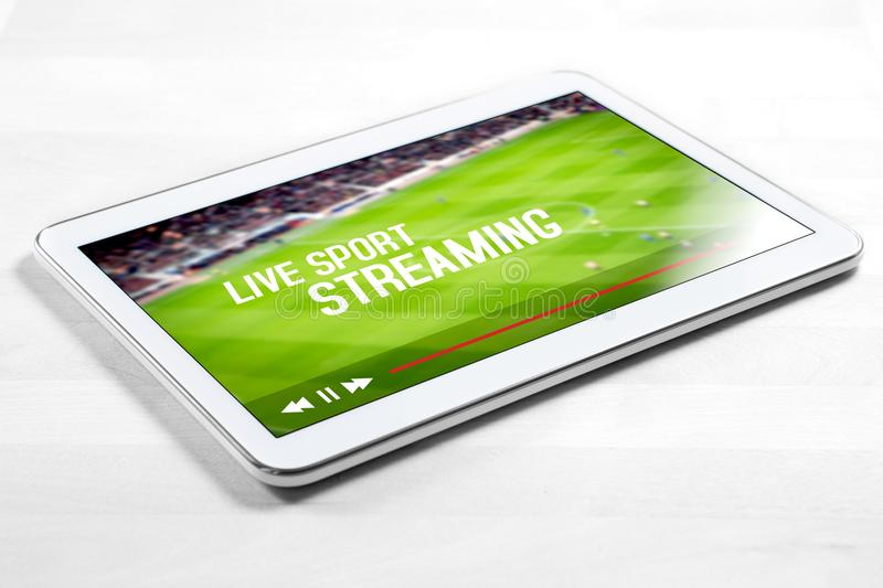 Live sport stream online with mobile device royalty free stock photos