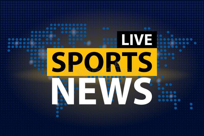Live Sports News-krantekop op de blauwe gestippelde achtergrond van de wereldkaart Vector illustratie stock illustratie