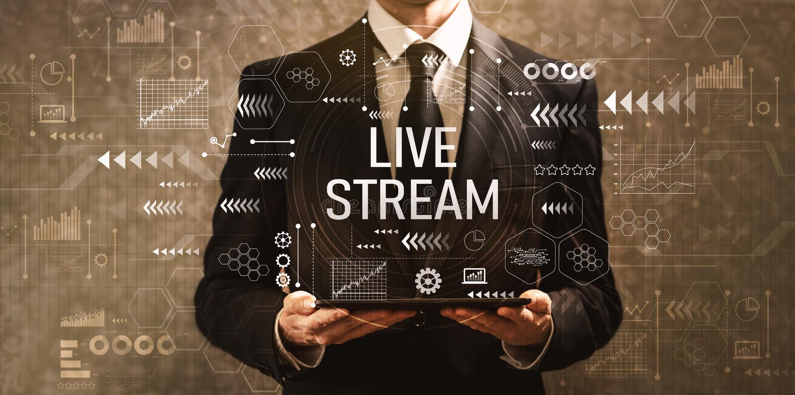 Live stream with businessman holding a tablet computer royalty free stock photo