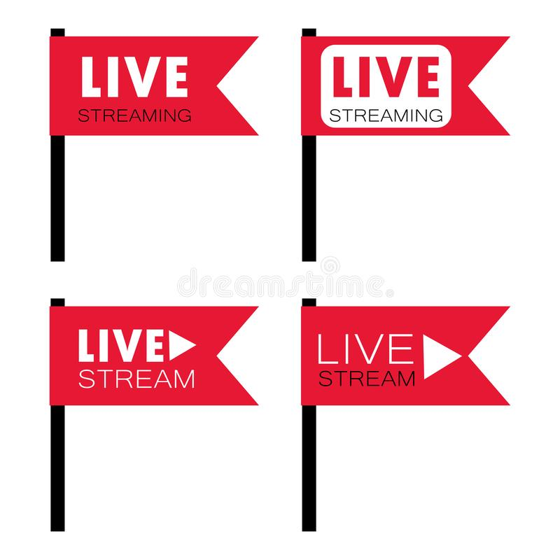 Live stream flag shape. Live stream symbols in flag shape concept. Stock vector illustration for online broadcast, tv program, digital entertainment stock illustration