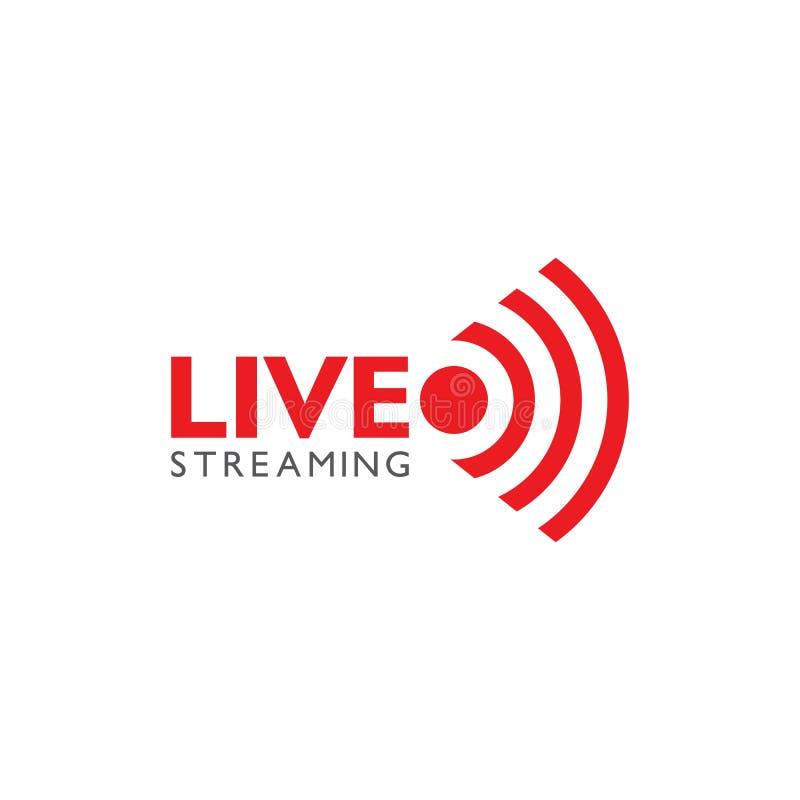 Live stream logo design. Vector illustration. Design template, now, global, loud, volume, speaker, arrow, cinema, network, cloud, word, globe, show, breaking stock illustration