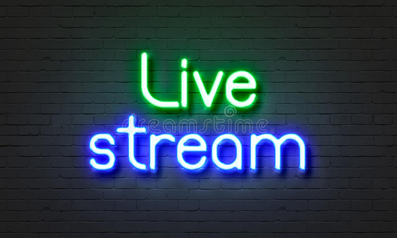Live stream neon sign on brick wall background. stock image