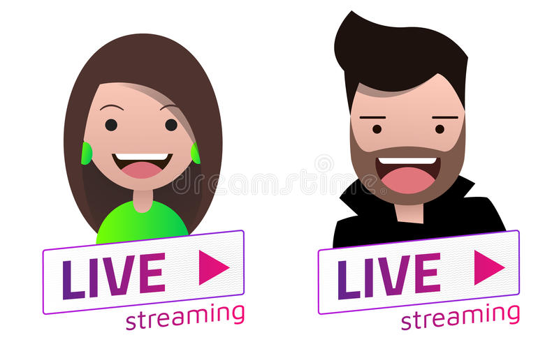 Live Stream sign With male and female avatar set. royalty free illustration