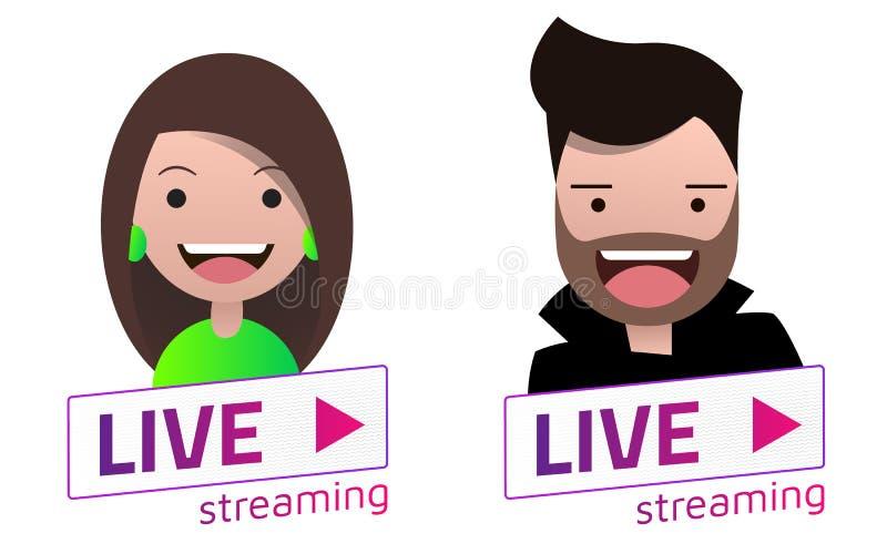 Live Stream tecken med den manliga och kvinnliga avataruppsättningen royaltyfri illustrationer