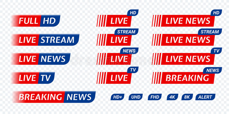Live stream TV news tag icon. Video symbol live broadcasting. Live stream TV news red with blue tag icon. Video symbol of live broadcasting, hd, uhd, fhd, 4k, 8k stock illustration