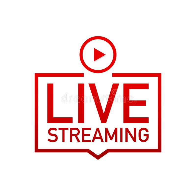Live streaming flat logo - red vector design element with play button. Vector stock illustration vector illustration