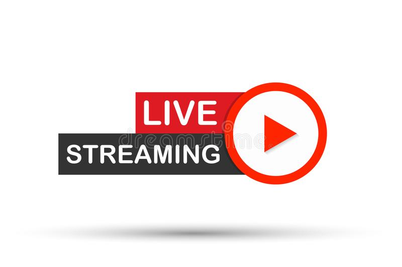 Live streaming flat logo - red vector design element with play button. Vector illustration. Live streaming flat logo - red vector design element with play button vector illustration