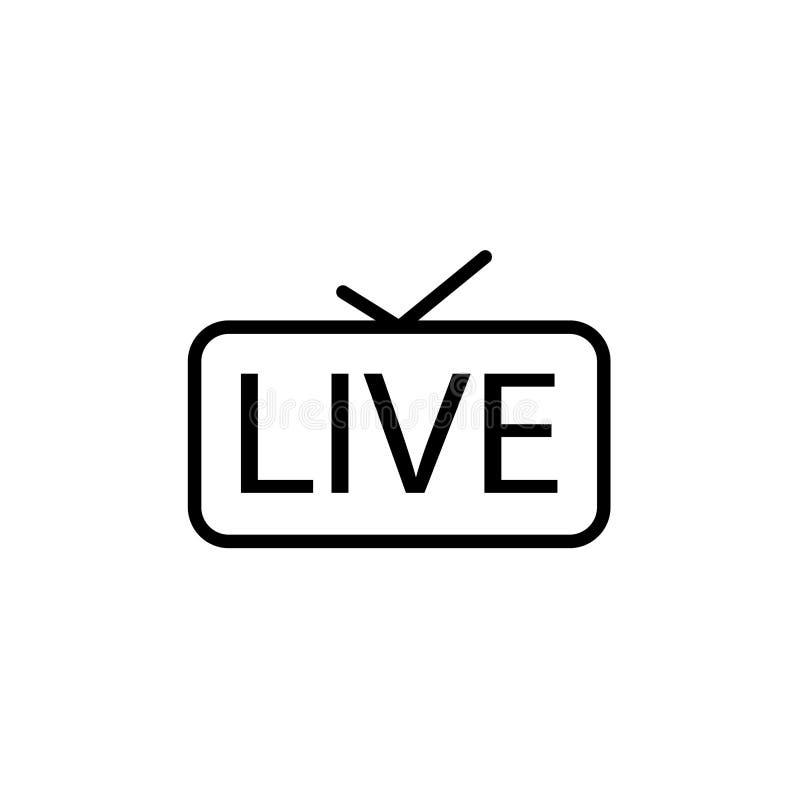 Live Streaming Icon leef in de Vectorillustratie van TV royalty-vrije illustratie