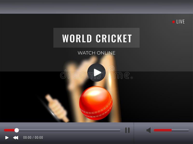 Live Streaming video lekillustration med den realistiska syrsabollen p? stadionbakgrund royaltyfri illustrationer