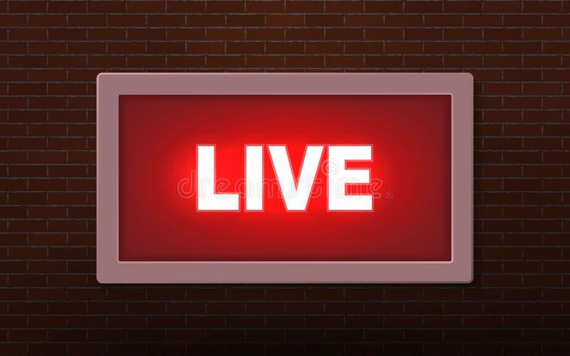 Live studio broadcast  light sign royalty free illustration