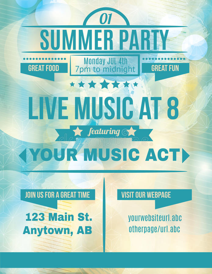 Download Live Summer Music flyer stock vector. Image of background - 40674826