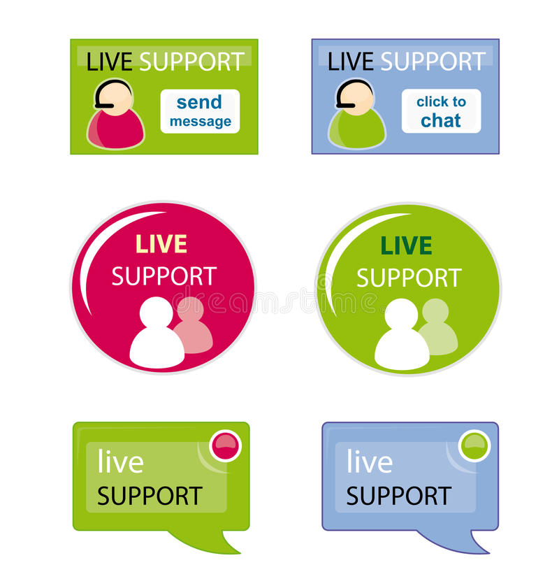 Live support icon set vector illustration