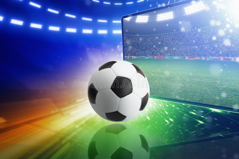 Live television broadcast of soccer match. Abstract sports background - live television broadcast of soccer match. Collage with soccer ball, big TV and bright vector illustration