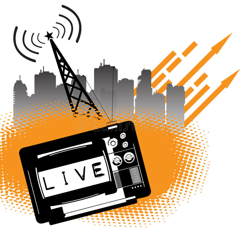 Download Live transmission stock vector. Image of buildings, broadcasting - 19455766
