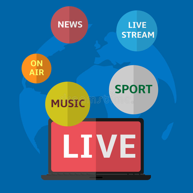 Live TV. Concept icon on the blue background stock illustration