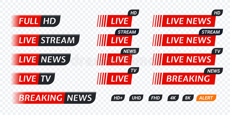 Live stream TV news tag icon. Video symbol live broadcasting. Live TV news red tag icon with video symbol of live broadcasting, full hd, live stream. Black tag royalty free illustration