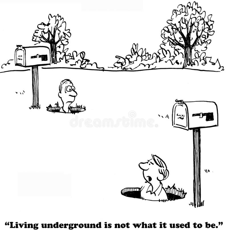 Live Underground. Cartoon about living underground with neighbors vector illustration