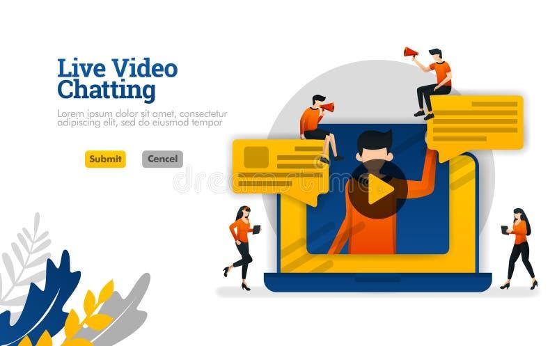 Live Video que conversa com portáteis, conversações para o vlogger industrial, conceito social da ilustração do vetor dos meios p ilustração stock