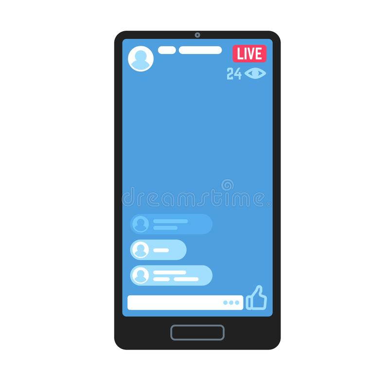 Live video stream on phone. Living videos streams, online stories chat on smartphone screen information apps. Vector vector illustration