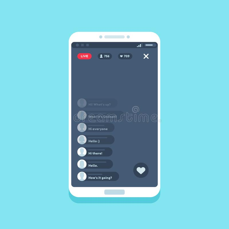 Live video stream on phone. Online videos stories streaming on smartphone screen, chat comments living streams UI vector. Live video stream on phone. Online stock illustration