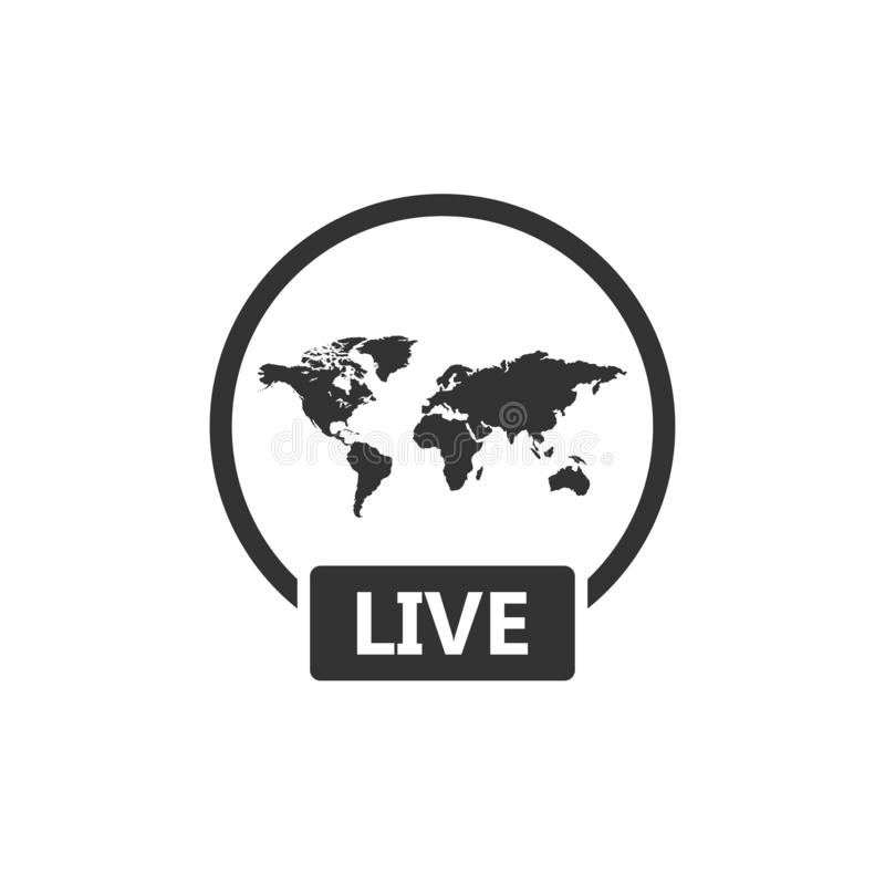 Live video transmission icon as Social media popup notification message window stock illustration