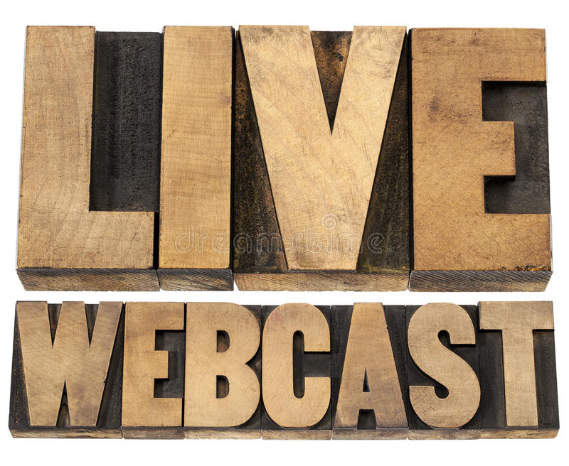 Download Live webcast in wood type stock image. Image of webcast - 30604345